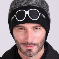 Gray Color Block Glasses Patched Knitted Beanie