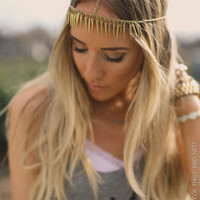 Gold BOHO Head Piece, Head Chain, Boho Headband, Coachella, Bohemian, Headpiece, Gold Beads, Hanging Head Piece, Adjustable (PNM-HB-220)