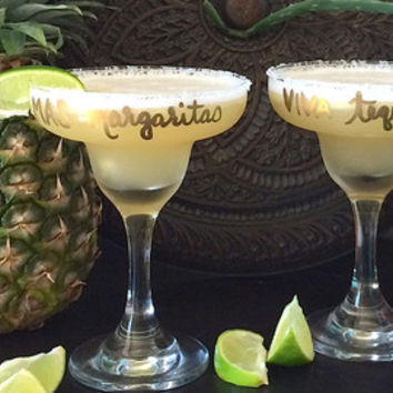 Set of 2 Personalized & Festive Margarita Glasses