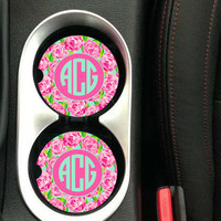Car Coaster Monogrammed,Personalized Car Coaster,Monogram Car Coaster,Lilly Pulitzer Inspired His Her Gifts Party Gifts Cup Holder Coaster