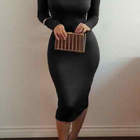 Black Turtleneck Long Sleeve Midi Dress