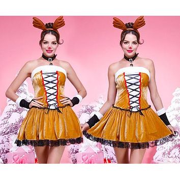 Reindeer Christmas Clothes Women Sleeveless Bandage Strapless Mini Dress Cosplay Party Uniform Set