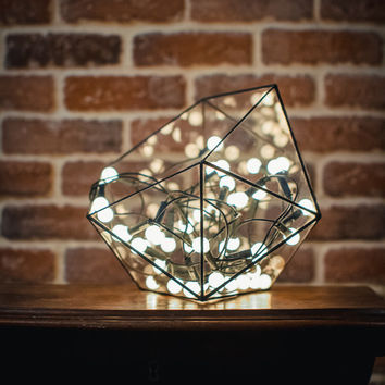 Small Terrarium Icosahedron, Stained Glass Vase, Planter for indoor gardening, Candle holder, Stained glass icosahedron
