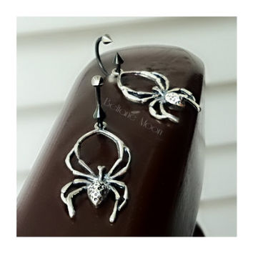 Spider Earrings, cartilage jewelry, Titanium, Spikes, Sterling Silver