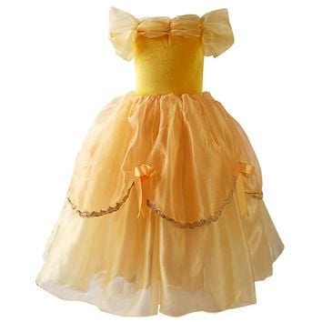 Girls Princess Belle Dresses up Costume Kids Baby Yellow Party Dress Ball Gown long dresses Beauty and Beast Cosplay  Birthday