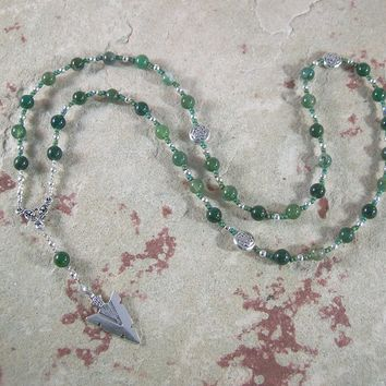 Lugh Prayer Bead Necklace in Green Agate: Irish Celtic God of All Arts and Skills
