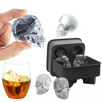 3D Skull Ice Cube Mold Maker Kitchen Silicone Tray