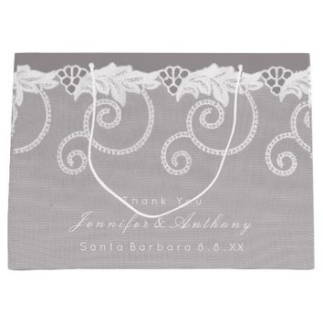Personalized Wedding Gray White Royal Lace Large Gift Bag