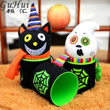 2Pcs Halloween Party Decorations Lovely Halloween Pumpkin Ghost Zombie Smiling Black Cat Shape Candy Jar Bottle Case Kids Favor