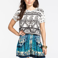 Patrons Of Peace Bandana Print Womens Crop Top White/Black  In Sizes