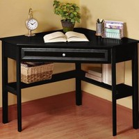 "Oxford 50 Inch Black One Drawer Corner Writing Desk, 30""Hx50""W, BLACK"