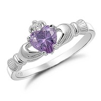 Sterling Silver Simulated Amethyst Claddagh Ring-Size 6