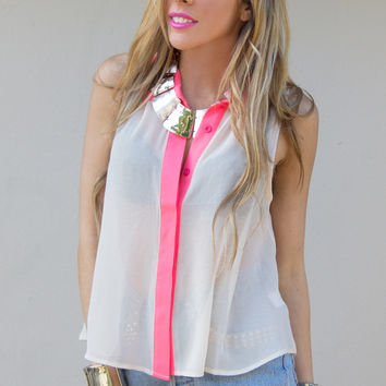 STRIPE NEON CHIFFON BLOUSE - Electric Peach