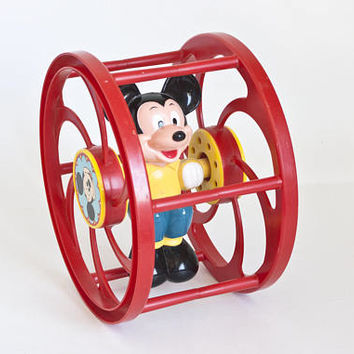 Vintage Mickey Mouse Rolling Wheel Toy, 1970s 1980s Disney Toy Disneyana Walt Disney Productions