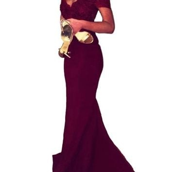 Women's Prom Dresses Spandex Off The Shoulder Long Evening Dress