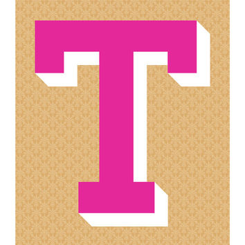 The Letter T, Original Giclee Art Print, Typography, Alphabet, Monogram, Pink, White, Gold