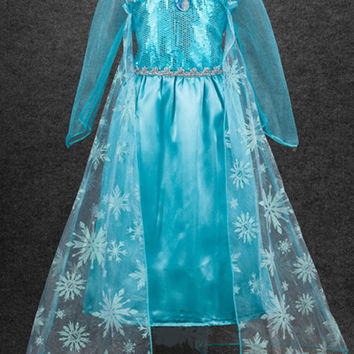 Girls Cute Frozen Princess Elsa Kids Dress Halloween Costume