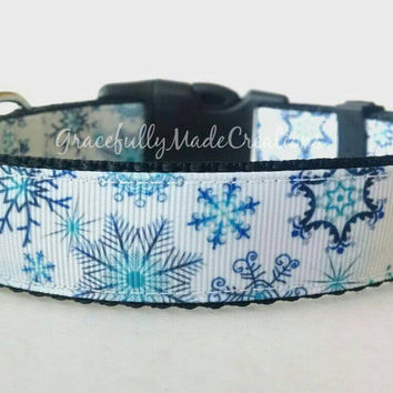 Snowflake Dog Collar - Adjustable Dog Collar - Snowflakes, Winter, Holiday, Christmas