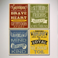 Hogwarts Houses Prints Art - Set of 4 Prints / Harry Potter Typography / Wall Art / Slytherin / Gryffindor / Hufflepuff / Ravenclaw