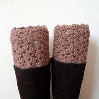 Lace Boot cuff, Crochet boot cuffs, Crochet lace boot toppers, Fall color brown. Bamboo. Teenage. Women.