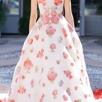 Organza Fil Coupe Rose Ball Gown | Moda Operandi