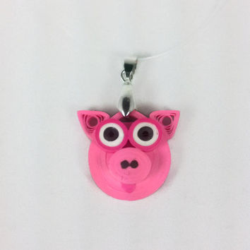 Eco-Friendly Paper Quilled Pendant Pig - Pink - paper quilling jewelry, paper quilling pendant, paper quilled jewelry, paper quilling pig