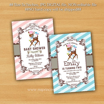 Deer Baby Shower, birthday party Invitation, fawn baby shower, 1st 2nd 3rd 4th 5th 6th girl birthday party - card 205
