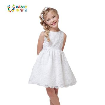 2017 SUMMER NEW Children Clothes Girls Beautiful Lace Dress Quality White Baby Girls Dress Teenager Kids Dress For Age 2-12
