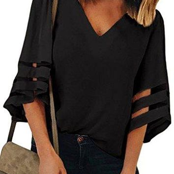 Charlotte Womens 34 Bell Sleeve V Neck Lace Patchwork Blouse Casual Loose Shirt Tops Flare Sleeve Tops Bouse