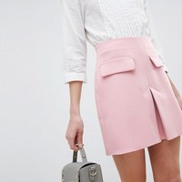 ASOS DESIGN a line mini skirt with pocket front detail at asos.com