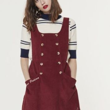 Moorland Melody Dungaree Dress (Wine)