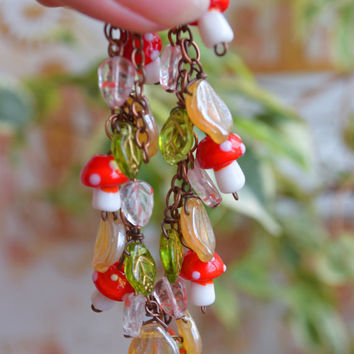 Lampwork bracelet Glass Mushroom Bracelet,Fall jewelry Autumn bracelet Boho bracelet,Kids bracelet,Red green,Forest,Fall mushrooms jewelry