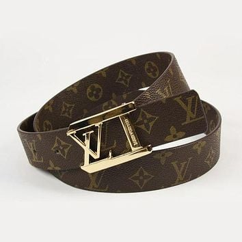 LV Women Fashion Smooth Buckle Belt Leather Belt