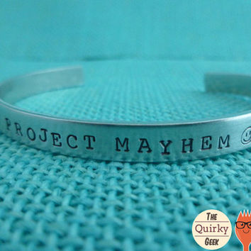 Fight Club Inspired - Project Mayhem - Hand Stamped Cuff
