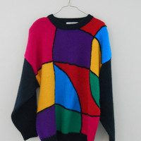 Plus Size Sweater Colorblock Color Block Vintage 90s Shoulder Pads Size 24 / 3X Oversized or 4 Hot Pink Black Blue Yellow Purple Red Green