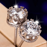 2016 New Women's Sliver Classic Crown Ear Stud Earrings with Diamond Handmade Jewellery Best Gift + Beautiful Gift Box