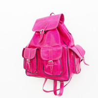 Handmade Leather Backpack Medium Hot Pink, satchel bag Soft Leather School College Travel Picnic Weekend bag, Gift For Her, Girlfriend Gift