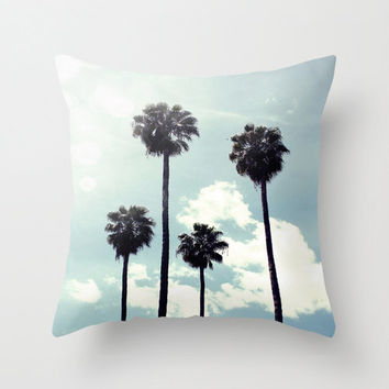 Los Angeles Palm Trees Throw Pillow COVER clouds Sky California Sunshine blue Nursery bedding Home Decor