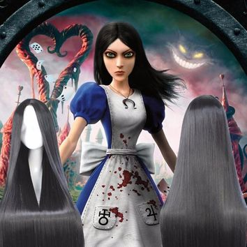Cool 100cm  New Design Alice Madness Returns Anime Cosplay Wig Hair Silky Straight Natural Black No Bangs Middle Parting Cos Wig+ CapAT_93_12
