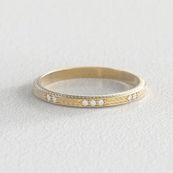 Wheat Engraved Wedding Band | Ethical Canadian Diamond Wedding Band |  14k Recycled Gold