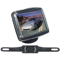 Pyle PLCM36 Car Van Vehicle Rearview Backup Camera & Video Monitor Parking/Reverse System, Night Vision License Plate Mount Cam, 3.5'' Monitor, Distance Scale Lines, Swivel Angle Adjustable Cam