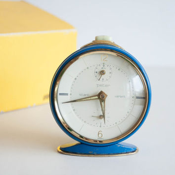 German Alarm Clock, 1960s Clock, Desk Clock, Mechanical Office Clock, Blue Gold