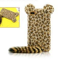 Cute 3D iPhone 6/6S Protetive Case Plush Tail Leopard TPU Case Cover Skin for iPhone 6/6S
