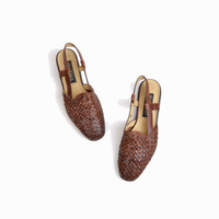 Vintage Slingback Woven Leather Sandals - women's 7