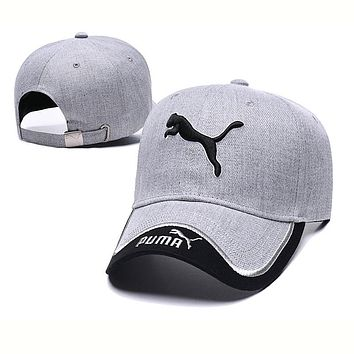 PUMA Fashion Women Men Embroidery Sports Sun Hat Baseball Cap Hat Grey