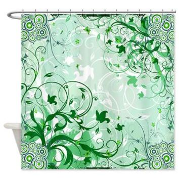 Forest green floral abstract shower from cafepress - Forest green shower curtain ...