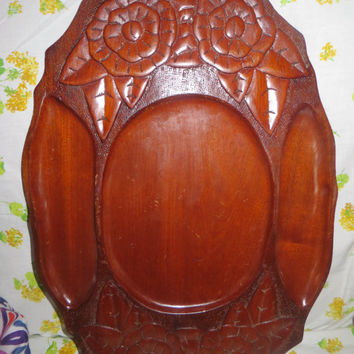 Vintage Mahogany Tray Wood Tray  Carved Wooden Tray Large Serving /  Tray / platter  Dark Wood DIVIDED Tray