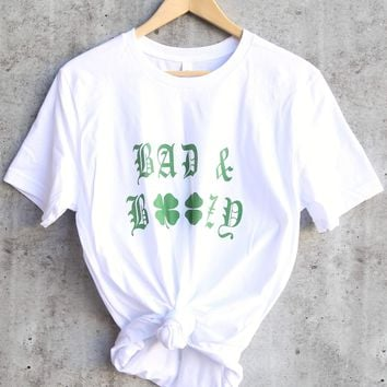 distracted - bad and boozy saint patrick's day ringspun cotton tshirt - white/green