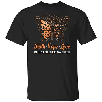 Faith Hope Love Orange Butterfly Multiple Sclerosis Awareness