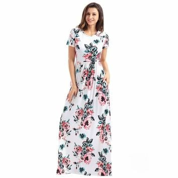 Floral Print Floor-length Maxi Dress